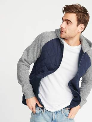 Old Navy Quilted Canvas/Sweater-Fleece Hooded Jacket for Men