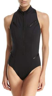 Magicsuit Coco Zip-Front One-Piece Swimsuit, Black, Plus Size $198 thestylecure.com