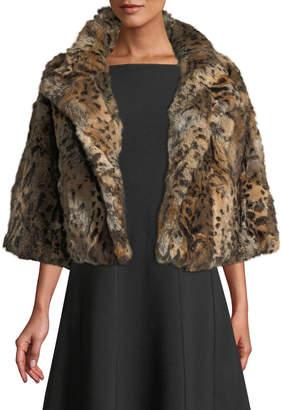 Adrienne Landau Leopard-Print Rabbit Fur Jacket