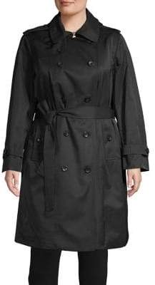 London Fog Plus Double-Breasted Trench Coat