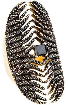 Mizuki 14K Black Diamond Feather Medallion Shield Ring