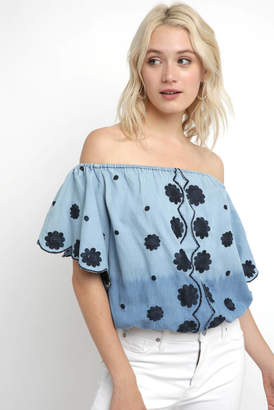 Muche Et Muchette Embroidered Chambray Smocked Off The Shoulder Top