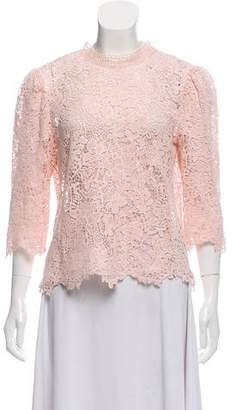 Rebecca Taylor Lace Thrre-Quarter Sleeve Top