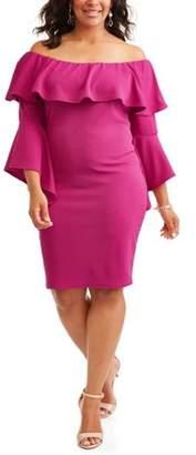Ella Samani Women's Plus Ruffle Off Shoulder Bell Sleeve Dress