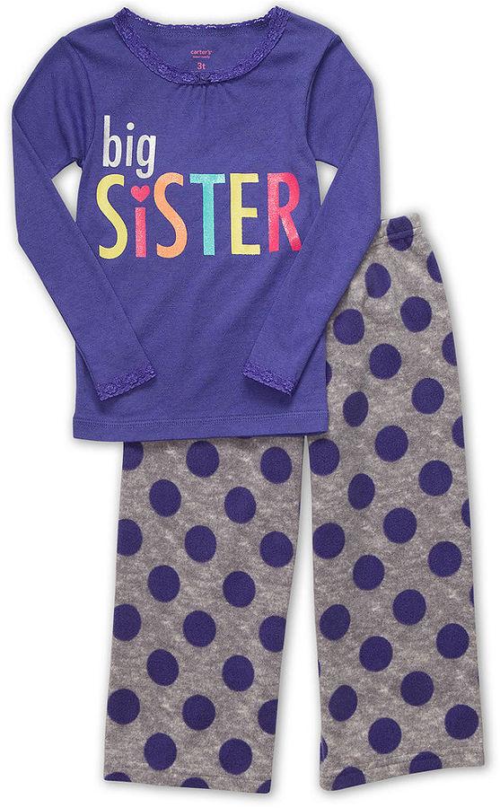Carter's Kids Pajama Set, Girls and Little Girls Big Sister Tee and Pants