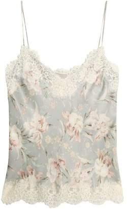Zimmermann Lace-Trimmed Floral-Print Crepe De Chine Camisole