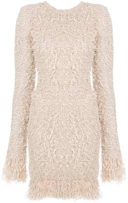 Balmain frayed fitted dress