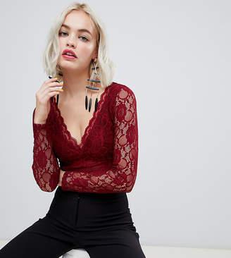 New Look long sleeve lace bodysuit in burgundy