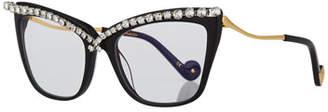 Karlsson Anna-Karin Lusciousness Divine Cat-Eye Crystal Optical Frames, Black