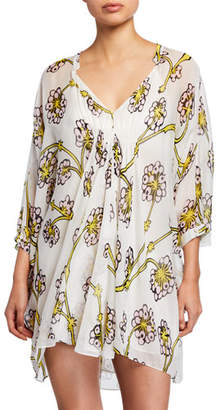 Diane von Furstenberg Fleurette Floral Silk Shirred Coverup Dress
