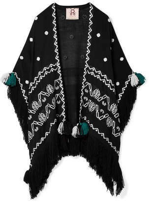 Figue Corazon Fringed Embroidered Wool Wrap - Black