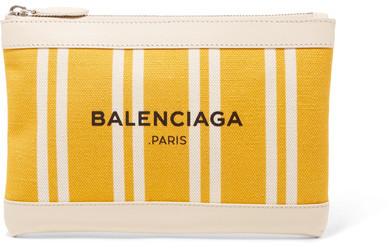 Balenciaga Balenciaga - Leather-trimmed Striped Canvas Pouch - Yellow