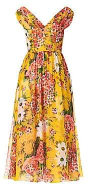 Carolina Herrera Women's Floral Silk Midi Dress