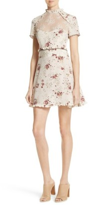 Women's The Kooples Lace Inset Floral Silk Dress $375 thestylecure.com