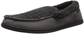 Dearfoams Men's Microsuede Moccasin with Whipstitch Wide Width Slipper