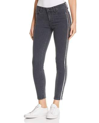 Paige Verdugo Ankle Skinny Jeans in Faded Black with Silver Tux Stripe - 100% Exclusive