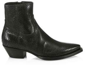 Saint Laurent Lukas Python Leather Ankle Boots