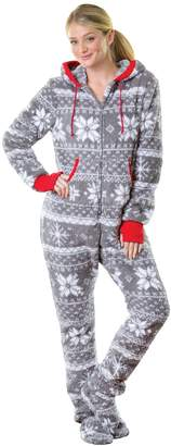 Nordic PajamaGram Hoodie-Footie Fleece Women's Onesie Pajama