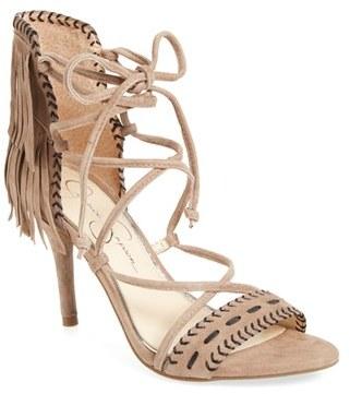 Women's Jessica Simpson 'Mareya' Fringe Ankle Tie Sandal $118.95 thestylecure.com