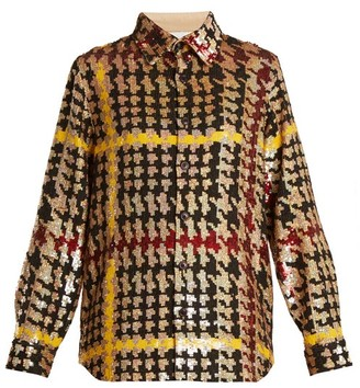 Ashish Button Down Houndstooth Sequin Embellished Shirt - Womens - Multi