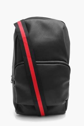 boohoo One Strap PU Bag With Stripe Webbing Strap