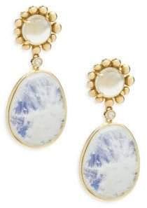 Michael Aram Molten Diamond, Moonstone & 18K Yellow Gold Drop Earrings