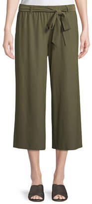 Eileen Fisher Washable Stretch Crepe Cropped Pants w/ Belt