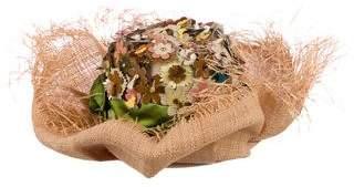 Prada Straw Floral-Embellished Hat