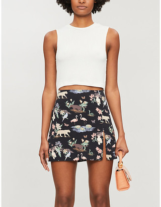 Reformation Margot wildlife-print crepe mini skirt