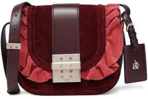 Lanvin Ruffled Leather And Suede Shoulder Bag