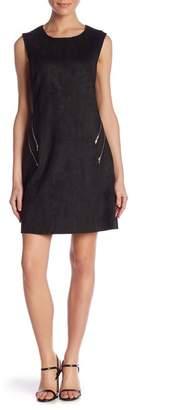 Molly Bracken Faux Suede Exposed Zip Dress