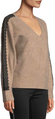 Avantlook Lace-Embellished V-Neck Cotton-Blend Sweater