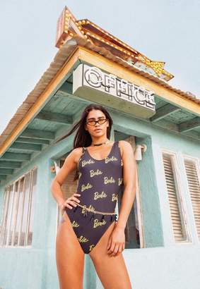 Missguided Barbie x Black Printed Swimsuit
