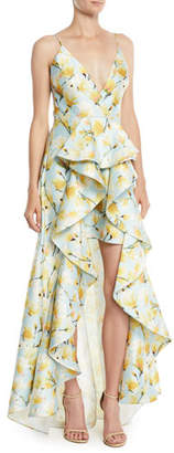 Badgley Mischka Floral-Print Mikado Ruffle High-Low Gown