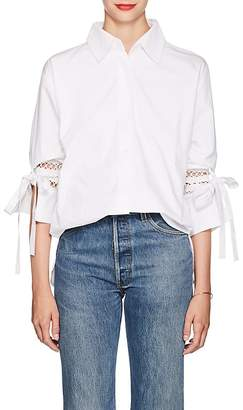 SIR The Label Women's Cotton Eyelet Tie-Sleeve Blouse