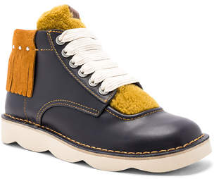 Coach 1941 Leather Derbies Shearling Tongue Boots