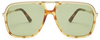Gucci - Squared Aviator Acetate Sunglasses - Mens - Multi