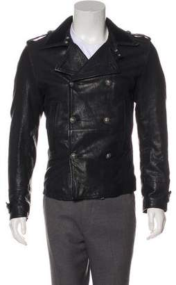 Dolce & Gabbana Leather Double-Breasted Jacket