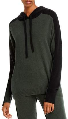 Minnie Rose Color-Block Hooded Cashmere Sweater