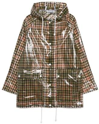 Topshop Checked Frosted Rain Mac Jacket