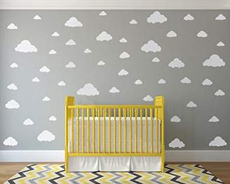 Mural White Clouds Sky Wall Decals - Easy Peel + Stick 50 Clouds Pack - Kids Playroom Nursery Sky for Baby Boy or Girl - Vinyl Sticker Art Large Decoration Graphic Decor