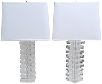 One Kings Lane Vintage Stacked Lucite Table Lamps - Set of 2 - Galleria d'Epoca
