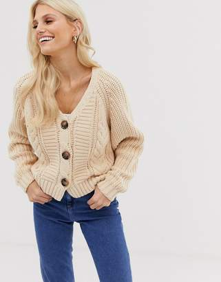 Asos Design DESIGN cropped cable chunky cardigan