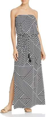 Tommy Bahama Fractured Stripe Bandeau Maxi Dress Swim Cover-Up