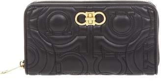 Salvatore Ferragamo Mini Bag In Black Leather With Embossed Gancini Print