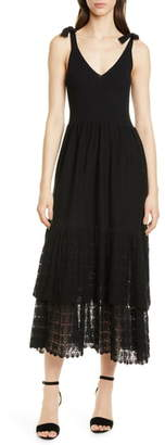 Rebecca Taylor Tie Shoulder Ribbed & Lace Dress