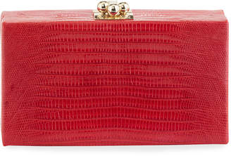 Edie Parker Jean Shiny Lizard Box Clutch Bag