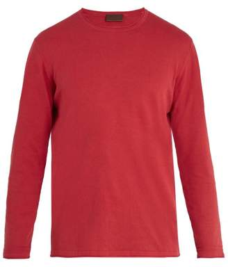 Altea - Crew Neck Linen And Cotton Blend Sweater - Mens - Red