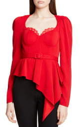 Self-Portrait Asymmetrical Peplum Top