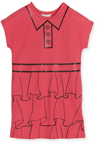 Little Marc Jacobs Little Marc Jacobs Cap-Sleeve Essential Jersey Trompe l'Oeil Dress, Pink, Size 6-10